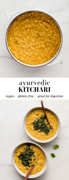 This Ayurvedic Kitchari is made with a mix of yellow split mung beans and basmati rice, stewed together into a cozy dish that's easy to digest! #vegandishes #ayurvedicrecipe #kitchari #glutenfreemeal