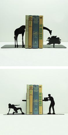 Clever Bookends by Knob Creek Metal Arts. Now available for purchase in their Etsy store.