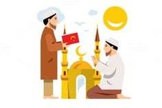 Imam with the Koran and a man on his knees. Isolated on a white background Vector files, fully editable. Islamic Prayer, Islamic Art, Flat Illustration, Character Illustration, Happy Eid, Vector File, Prayers, Icons, Symbols