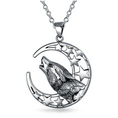 Bling Jewelry Sterling Silver Howling Wolf Moon Pendant ($60) ❤ liked on Polyvore featuring men's fashion, men's jewelry, men's necklaces, silver, mens sterling silver chain necklace, mens charms for necklaces, mens pendant necklace, mens sterling silver necklace and mens jewish star necklace