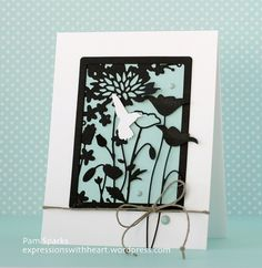 Hi everyone! Pam here sharing a very Spring-like color card today! I die cut the Florina Corner, Prim Poppy and Shaker Rectangle Frame dies in Black card-stock and glued them together. I die cut one of the Studio Rectangle Layers dies in Pool card-stock and glued it to the back of the glued together black pieces. I die cut the smaller Forest Hummingbird die in White card-stock and using a thin mounting square, adhered it over a flower. Then I adhered the rectangle to a white A-2 card base…