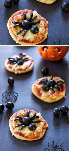 Mini Spider Pizzas | Click Pic for 20 Healthy Halloween Snack Ideas for Kids | Easy Snacks for Teens to Make Recipes
