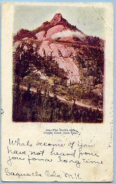CRIPPLE CREEK SHORT LINE, THE DEVIL'S SLIDE, 1907 POSTMARK COLORADO — Ancient Tony Vintage PostCards