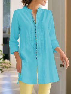 41628e4495 Ladies Fashiob Long Sleeves Casual Linen Shirt Dresses