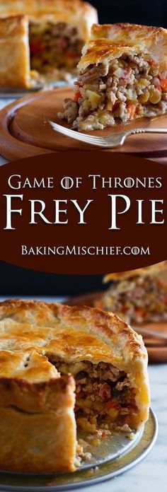 Make your very own Game of Thrones Frey Pie, with carrots, parsnips, turnips, mushrooms, bacon, and ground PORK wrapped in a delicious buttermilk pie crust. Recipe includes nutritional information. From http://BakingMischief.com #JamiesCleanEatingrecipes