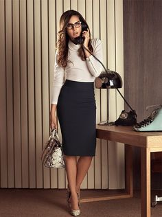 Wear to work studio f fashion in skirts in 2019 офисный стил Mode Outfits, Office Outfits, Trendy Outfits, Womens Fashion For Work, Work Fashion, Office Fashion, Boho Style Dresses, Women's Fashion Dresses, Secretary Outfits