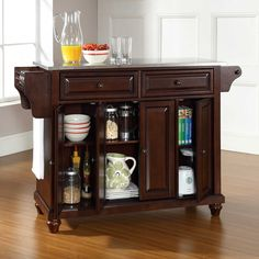 "Crosley Cambridge Stainless Steel Top Kitchen Island in Mahogany Measures 52"" W x 18"" D x 36"" H"