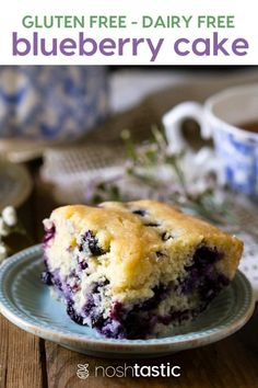 Gluten Free Blueberry cake, easy to make and can be made dairy free too, perfect gluten free baking recipe for afternoon tea! | www.noshtastic.com | #noshtastic #glutenfree #fruit #berries #cake #sheetcake #baking #easy #quick #blueberries