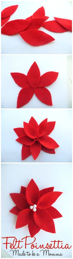 diy felt poinsetta's make the perfect gift tag for your holiday giving and also look so pretty on the Christmas Tree.These diy felt poinsetta's make the perfect gift tag for your holiday giving and also look so pretty on the Christmas Tree. Felt Flowers, Diy Flowers, Fabric Flowers, Paper Flowers, Felt Ornaments, Diy Christmas Ornaments, Christmas Wreaths, Origami Christmas, Felt Christmas Decorations
