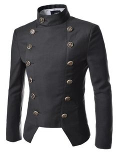 Double Breasted High neck Slim fit Blazer, would go great with epaulettes to get a military look $58