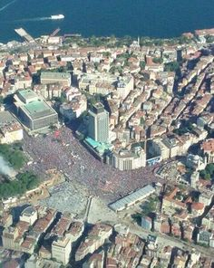 A sea of people in Taksim Square, Istanbul.
