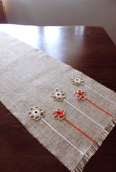 Spring Burlap Table Runner Adorned with Flowers  by Wonders4You