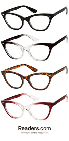 The perfect mix of retro! Our Laura full framed reader has a lightweight plastic frame and an iconic cat eye shape. The full framed lenses are available in a to a power. Cute Glasses, New Glasses, Glasses Frames, Stylish Reading Glasses, Perfect Cat Eye, Cute Frames, Fashion Eye Glasses, Thing 1, Trends