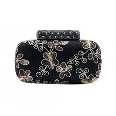 Womens Traditional Chinese Style Floral Rhinestone Evening Handbag Purse Clutch Munaudiere