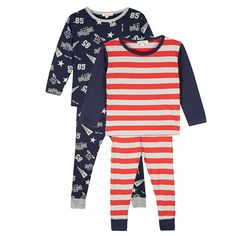 bluezoo Pack of two boy's navy striped varsity pyjama tops and bottoms- at Debenhams.com