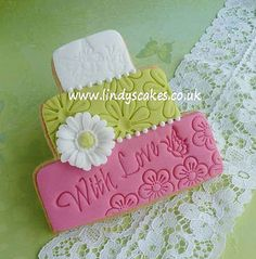 with love stacked wedding cookie by Lindy Smith by Lindy's cakes, via Flickr