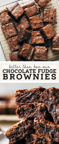 This is the BEST chocolate fudge brownie recipe that rivals the class box mix brownies. They're not too cakey, not too fudgy, and rich in deep chocolate flavor with a crinkly top. Homemade Fudge Brownies, Chocolate Fudge Brownies, Best Brownies, Boxed Brownies, Fudge Cookies, Cheesecake Brownies, Bar Cookies, Best Chocolate, Homemade Chocolate