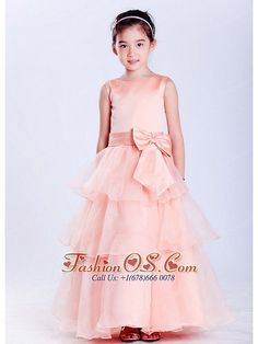 Customize Watermelon Red A-line Scoop Bow Flower Girl Dress Ankle-length Taffeta and Organza Item Code: HLEN0814T039FOS