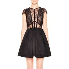 Sandro Davina Lace-Bodice Dress (10.941.085 VND) ❤ liked on Polyvore featuring dresses, black, sandro dress, lace dress, lace cocktail dress, sandro and lacy dress