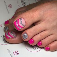 100 amazing acrylic coffin nail design ideas - Page 75 of 106 - Inspiration Diary Glitter Toe Nails, Acrylic Toe Nails, Toe Nail Art, Pink Nails, My Nails, Coffin Nail, Pretty Toe Nails, Cute Toe Nails, Nail Swag