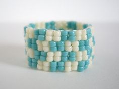 Peyote ring Turquoize and cream chech ring Woven by MisakoBeads, £6.00