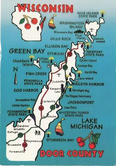 Door County Highlights | Postcard scan; from a Wisconsin tri… | Flickr