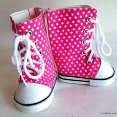 "American Girl Doll Shoes Pink Canvas Sneaker Boots 18"" Doll High-Top Sneakers"