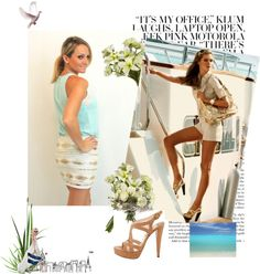 """Aqua and Sequins"" by shopdailychic ❤ liked on Polyvore"