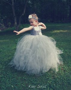 Silver Flower Girl Tutu Dress Platinum Grey with by KingSoleil, $160.00.  I'm making these myself.  I think I might start making them to sell. :)