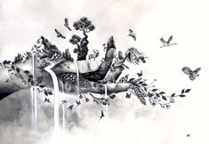 Cool Art Drawings, Art Drawings Sketches, Nature Tattoos, Body Art Tattoos, Tatoos, Foto Montages, Botanisches Tattoo, Hirsch Tattoo, Pics Art