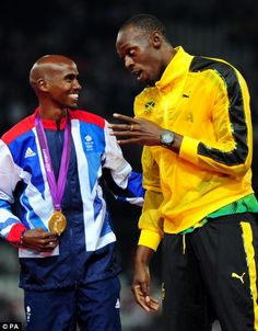Usain Bolt and Mo Farah celebrate together during the London 2012 Olympic Games Usain Bolt, Floyd Mayweather, Motogp, Mo Farah, I Love To Run, Olympic Gold Medals, Sports Personality, Team Gb, Fastest Man
