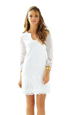The Mara Dress is knit lace dress with 3/4 length sleeves. The engineered lace creates a perfectly placed design to flatter every part of you. We love the notched neckline and scalloped hemline too.