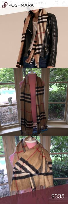 """Burberry Classic Cashmere Scarf, Plaid Camel Check Unisex. Beautiful, NWT, 100% authentic Burberry scarf. Never worn. Price has been removed from tag but please note the item number on the tag matches the item number from online advert. Still currently sold, perfectly classic. Measures a bit over 68"""" long. Burberry Accessories Scarves & Wraps"""