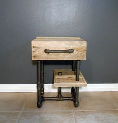 End of year sale!!! Pallet/Pipes Nightstand/Side Table on Etsy, $249.00