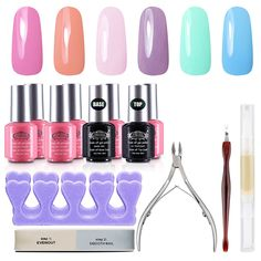 Perfect Summer 6 x 8ml Colors Gel Nail Polish UV LED Soak Off   Clear Base Coat and Top Coat with 6 PCS Nail Art Tools French Manicure Starter Kits 14 PCS Set -016 * For more information, visit image link.