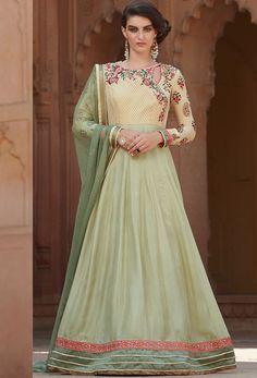 Semi Stitched Cream #Silk And Georgette #Anarkali #Suit #nikvik  #usa #designer #australia #canada #freeshipping #pakistani #suits