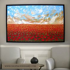 """Original FRAMED Painting - Abstract """"Poppy Field"""" Palette Knife Impasto Texture - Large 37.5""""x25.5""""x2"""" - Wired Ready to Hang - Free Shipping"""