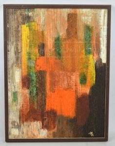 shopgoodwill.com: Geometric Shaded Rubbed Board Abstract Painting