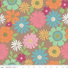 Laminated cotton fabric Riley Blake Flower by Laminatesbytheyard