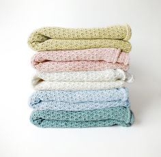 Baby Blanket - Knitted linen blanket /throw by myBlueMeadow
