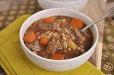 Slow Cooker Beef and Barley Soup - your homebased mom. I think I will just use hamburger.