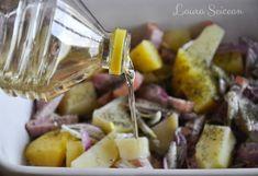 Cartofi la cuptor cu bacon și ceapă - rețetă rapidă Potato Salad, Bacon, Cooking Recipes, Potatoes, Ethnic Recipes, Food, Chef Recipes, Potato, Essen