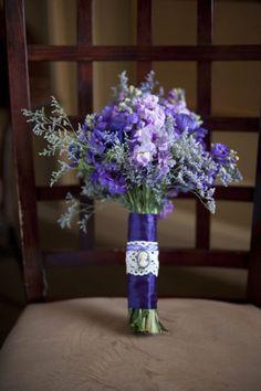 purple and lavender stock w/ statice - kelli
