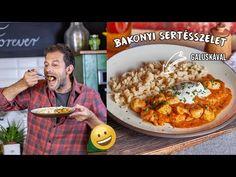Bakonyi sertésszelet galuskával - YouTube Paella, Beverages, Meat, Chicken, Vegetables, Ethnic Recipes, Kitchen, Street, Youtube
