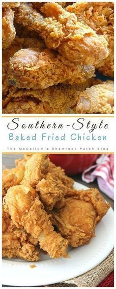 Delicious easy to make Southern-Style Baked Fried chicken will be one of your families favorite baked versions of Southern Fried Chicken. This flavorful recipe for juicy yet crispy chicken is… Oven Baked Fried Chicken, Fried Chicken Recipes, Recipe Chicken, Kentucky Fried Chicken Recipe Baked, Chicken Fried Chicken, Fries In The Oven, Southern Recipes, Soul Food, Snacks