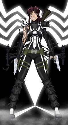 """#wattpad #fanfiction When a girl beaten bruised and who knows what else escapes her """"home"""" what she finds is a friend and much more Revy Black Lagoon, Black Lagoon Anime, Batman, Spiderman, Venom Girl, Character Art, Character Design, Venom Comics, Fantasy Sword"""