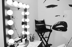 """Love this wall decal ,the chair and """"vanity girl hollywood"""" vanity....this would def be an awesome makeup room idea :)                                                                                                                                                      More"""