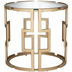 Universal Lighting and Decor Geometric Tempered Glass and Gold End... (€310) ❤ liked on Polyvore featuring home, furniture, tables, accent tables, circular table, contemporary round table, round gold side table, round occasional tables and contemporary end tables