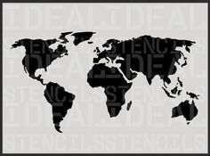 WORLD MAP STENCIL,  decorative wall stencil, furniture stencil, painting stencils. Ideal Stencils Ltd
