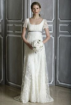 Empire waisted wedding dress with lace sleeves - looks like it came right out of a Jane Austen movie